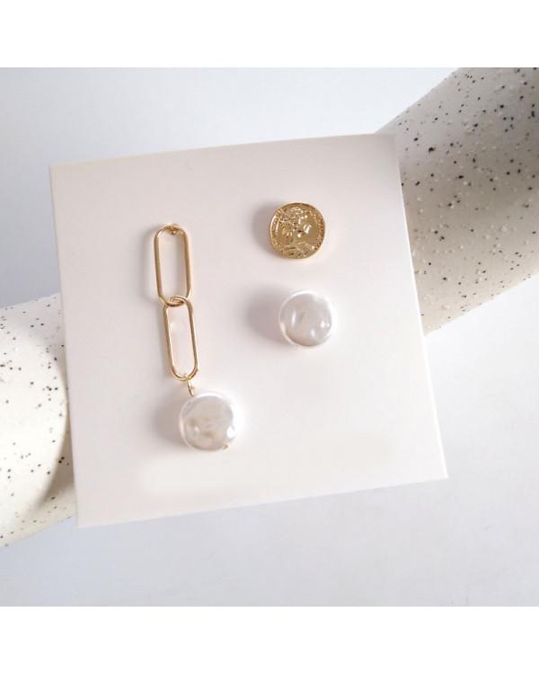 Набор сережек с жемчугом и цепями Game