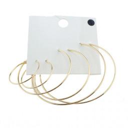 Серьги кольца круглые набор Gold