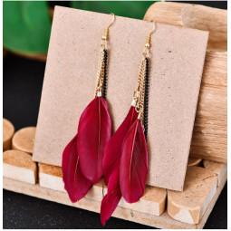 Серьги перья бордовые красные
