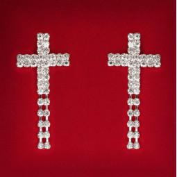 Серьги кресты с кристаллами