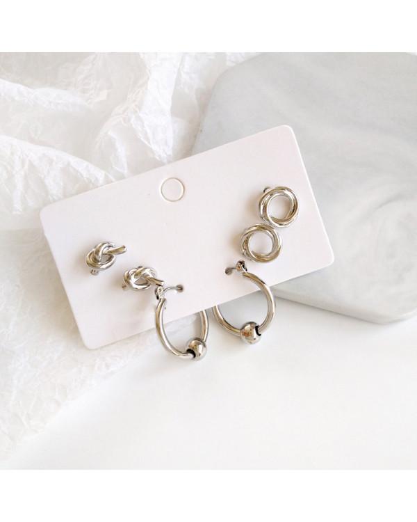 Набор сережек stylish 3 пары серебр