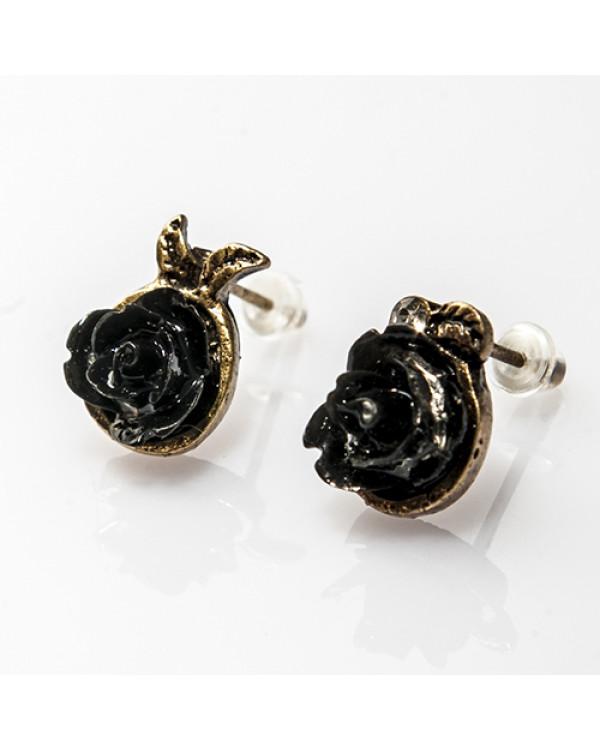 """Серьги цветы """"Розочки"""", черные. Магазин Сорока"""