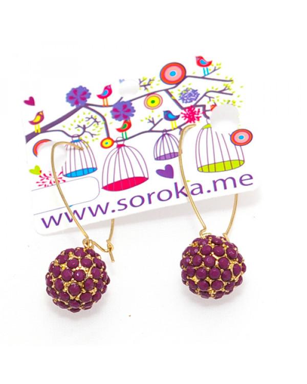 """Серьги шамбала """"Сфера"""", фиолет. Магазин Soroka.me"""
