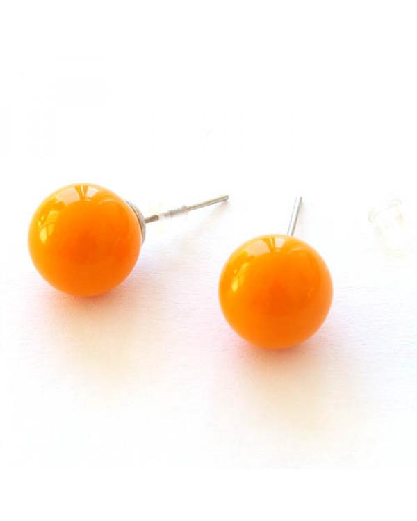 """Серьги гвоздики """"Яркость"""", оранжево-персиковые. Магазин Сорока"""