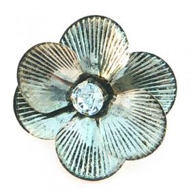 "Коктейльное кольцо ""Цветок"", серебро, безразмерное"