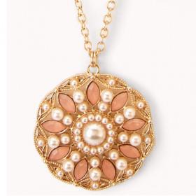 "Кулон с камнями на цепочке ""Amadeya"", розовый"