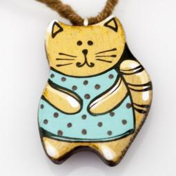 """Кулон ручной работы """"Wood&art_cat"""""""