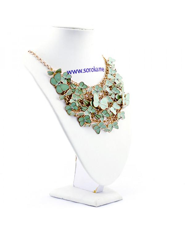 Хотите купить колье нереальной красоты? Это колье бабочки мятного цвета точно вам подойдет!