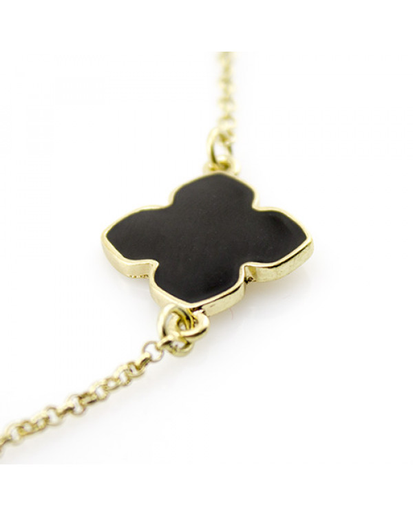 Колье ожерелье с черной эмалью четырехнистник королевы - шикарное и элегантное!