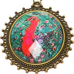 "Кулон медальон на цепочке ""Павлин"""