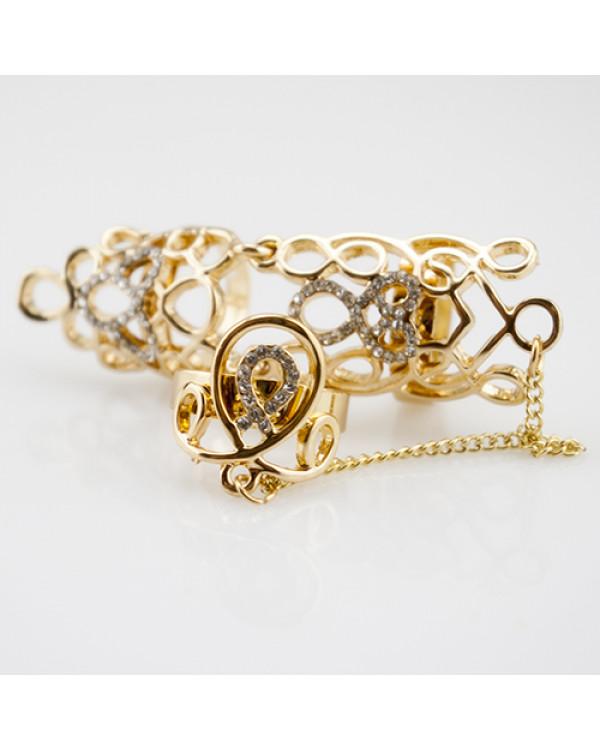 """Кольцо """"Lorena"""" Ведь это: кольцо на весь палец, дополненное скромной цепочкой и еще одним колечком"""