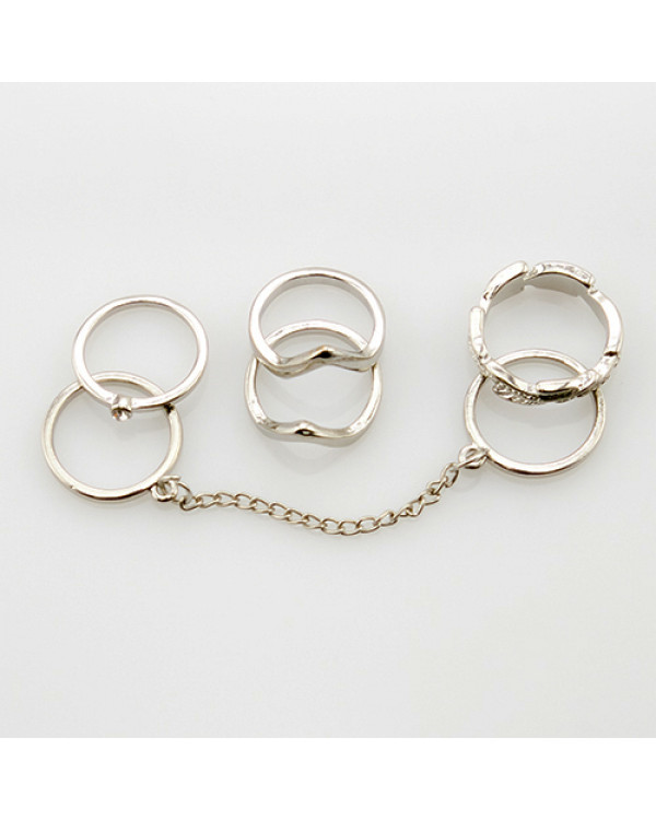 Набор колец на фаланги GV silver, 5+шт