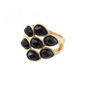 Кольцо с черными камнями Black Drop
