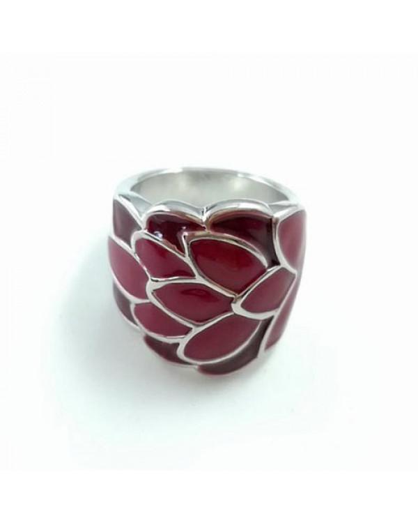 Красное кольцо с эмалью Flora - красивые кольца живут на Сорока.Ми