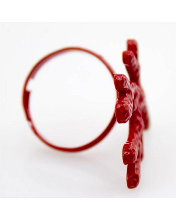 Кольцо красное Коралл - самые модные кольца бижутерия недорого ждут тебя на Сорока.Ми
