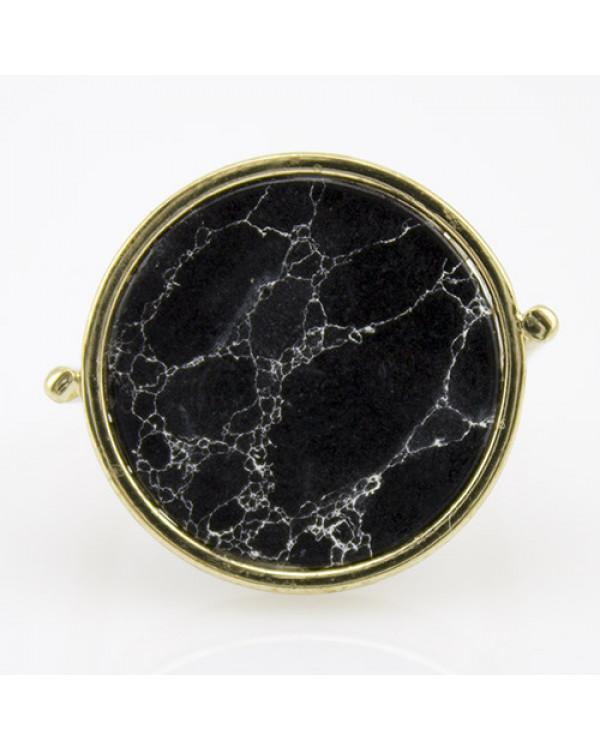 Модное кольцо черный мрамор