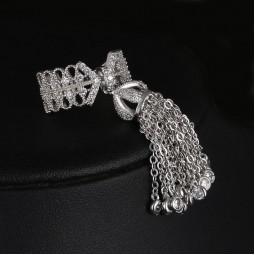 Кольцо с кисточкой серебр