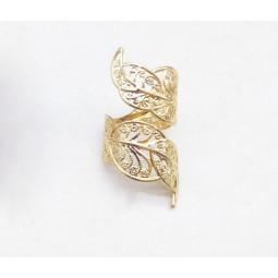 Кольцо лист золотистое
