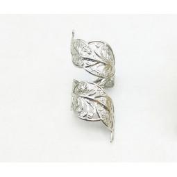 кольцо лист серебристое