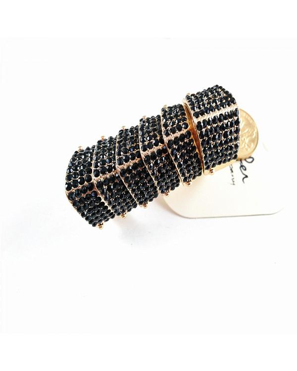 Купить длинное кольцо на весь палец модное с черными камнями бижутерия лонгринг