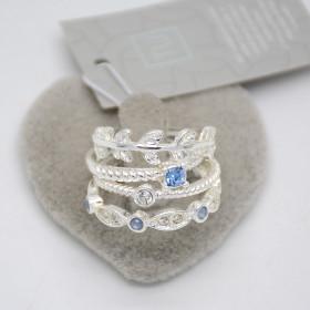 Набор колец с голубым камнем 4шт по цене 1