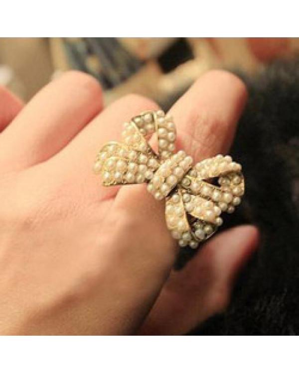 """Интересные кольца  """"Бант с жемчугом"""". Магазин Soroka.me"""