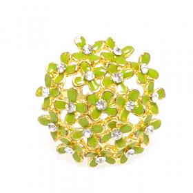 """Кольцо """"Букет"""" золото зеленое"""
