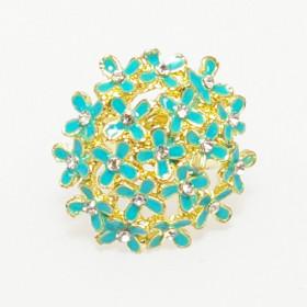 """Кольцо """"Букет"""" золото голубое"""