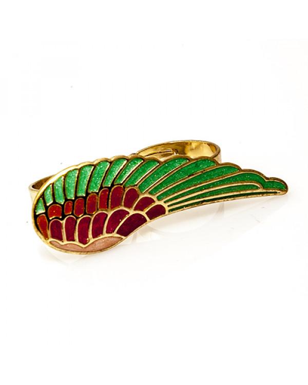 """Кольца женские на два пальца """"Крыло радуги"""". Магазин Soroka.me"""