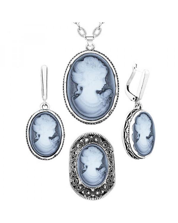 Набор украшений с Камеей - винтажные серьги, кулон и кольцо от магазина Сорока.Ми